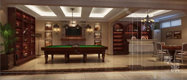 名雕墅派整装定制—公园大地别墅—地下室:地下室的设计已稳重、高档的木色系为主,演绎为一种优雅的高贵姿态,含蓄、考究的家具使得空间亦不乏令人踏实的温厚之感。