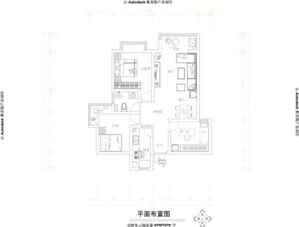 山顶御新城两居室简约风格装修设计效果图【户型布局设计图纸】