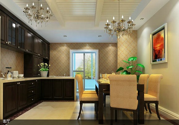 开放式的厨房,深木色橱柜吊柜是中式风格的精髓体现