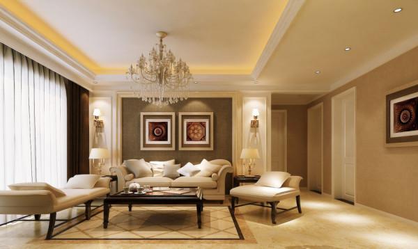 锦艺国际华都简约风格三居室装修设计效果图【客厅装修设计效果图