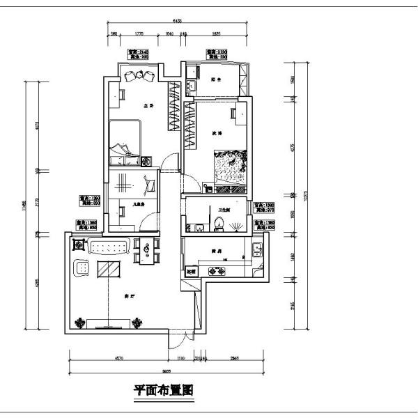 中原新城两居室简约风格装修设计效果图【户型设计布局图】