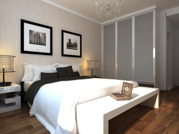 中原新城两居室简约风格装修设计效果图【卧室装修效果图