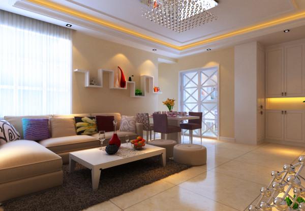 中原新城两居室简约风格装修设计效果图【客厅设计效果图