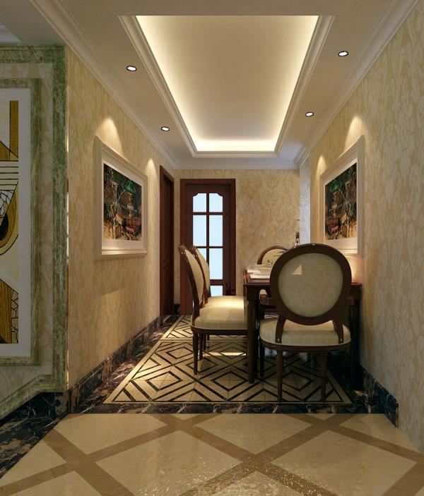 财信圣堤亚简约风格三居室欧式古典风格装修设计效果图【餐厅设计效果图】