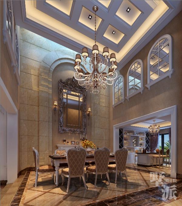 名雕墅派整装定制—公园大地别墅—餐厅:餐厅空间的高挑感,突显了空间的层次美感。沙安娜大理石整面的背景彰显尊贵,餐厅与吧 区的互动空间,增加了空间的流动性与实用性。