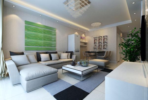 山顶御新城两居室简约风格装修设计效果图【客厅装修设计效果图】