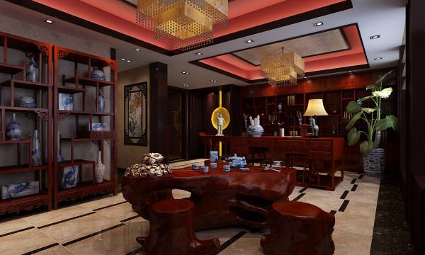 工作区中式设计,文人气息与古香古色的韵味弥漫其间,书桌、圈椅与青瓷格调高雅,富有文化情调和书房特色。