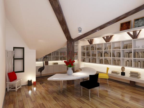 这个是书房的一个设计,书房是这位业主家的重中之重。
