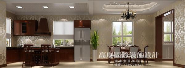 厨房和餐厅采用敞开式的,但是厨房和餐厅的吊顶做了区域的划分,厨房采用吸顶灯,整个空间好清洗,而且业主要求比较高所有的橱柜采用实木打制的,整个空间很温馨和谐。