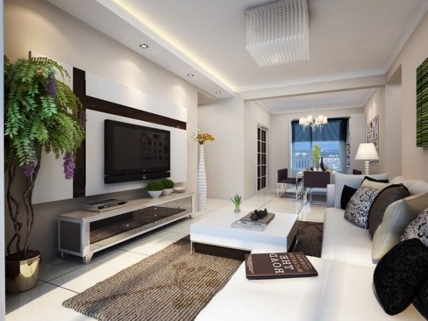 ,以简约作为基调,客厅的电视墙上采用简单的几何线条,以及经典的黑白配,勾勒出整个空间更突出简约的大气和时尚;墙面选择淡咖色的乳胶漆使整个空间充满书香气息,体现了主人的文化品位;