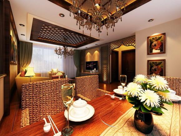 餐厅则以藤条桌椅、深木色的家具、灯光的变化体现了稳重及豪华感