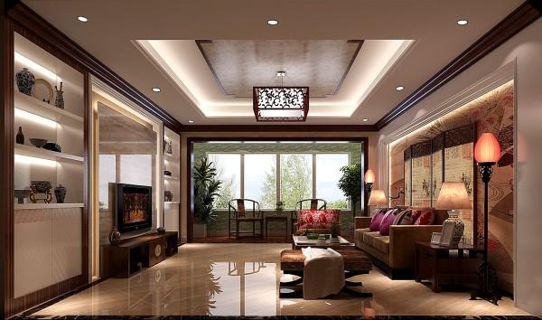 设计师巧妙利用电视背景墙的厚度来打造了两个柜体,是它与电视柜形成一个整体, 不仅实用、美观,而且体现了中式元素的稳重、大方。