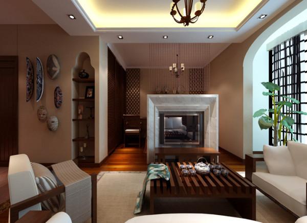 大理石的电视背景墙与珠帘分隔了卧室和客厅,即个性又起到划分空间的作用,整体家具采用褐色木材,突出风格,和米色的地毯、白色的沙发垫相呼应,清新自然。