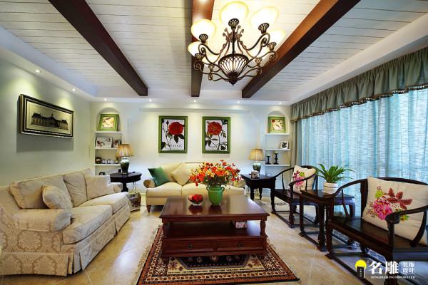 名雕装饰设计— 合生帝景苑—美式田园--客厅