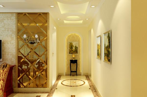 通过顶和地完美的曲线造型装饰,让本来狭长的走廊倍显豪华大气。