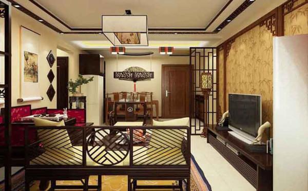 众美意风-130平米中式风格装修-客厅效果图