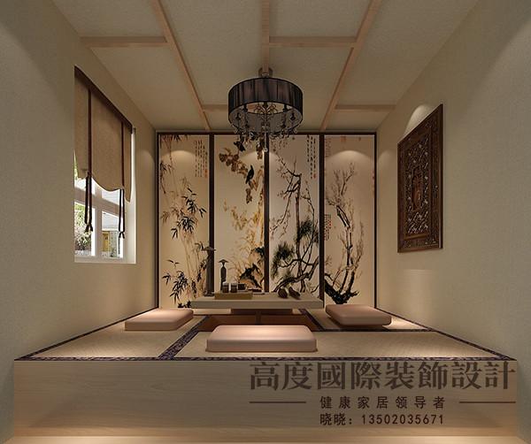 茶室选用日式风格,吊顶选用木梁所制。选用榻榻米,增加了储物空间,背景选用传统的梅兰竹菊做装饰。