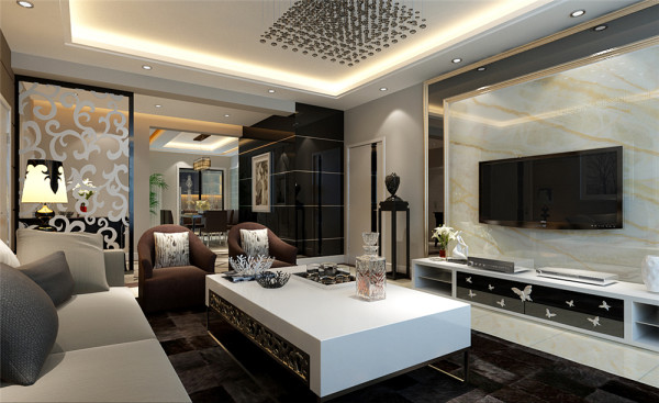 本方案是围绕现代简约为主题,三口之家居住,本方案主要材质运用高光玻璃、大理石、壁纸。三者相互结合,相交融。以简洁明快的设计风格为主调,