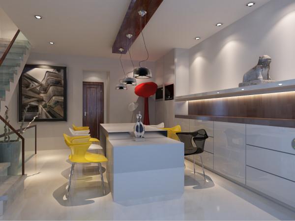 这是一个餐厅的设计,除了色彩搭配,家具配饰等风格都很简单。