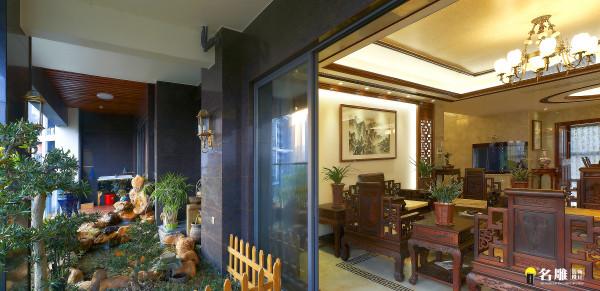 名雕装饰设计—天骄峰景私家豪宅—中式客厅-阳台