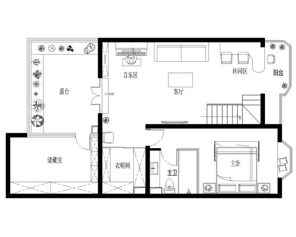 二层客厅经过精心布置,白色与卡其色的完美机结合,显示出业主硬朗直爽却不失温和的人格品质。