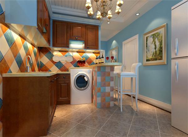 厨房开放式厨房设计理念:开放的地中海式厨房,色彩的大胆运用,搭配深色橱柜竟搭出了时尚的感觉。在橱柜与吧台时间,充分利用空间放下洗衣机,整天给人一种大气时尚又实用的感觉。