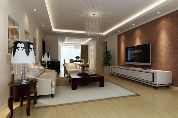 保利花园-120平米C2户型现代简约风格装修-客厅效果图