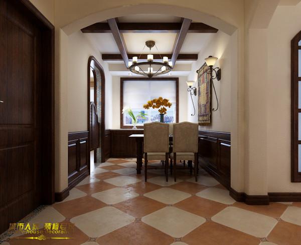 美式的风格一般要求简洁明快,那么设计师只采用简单的地面拼花设计,弧形的门洞彰显着曲线的优雅与光洁质感的大气,吊顶的造型与客厅一致,把美式的异域风格特点展现出来,尽显主人的品味与历史感。