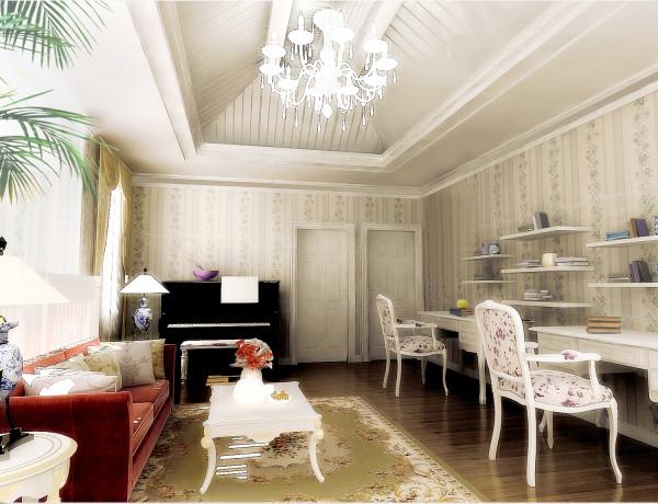 【实景装修案例】400平别墅精致舒适与品质的完美演绎-英式乡村-二层起居室效果图