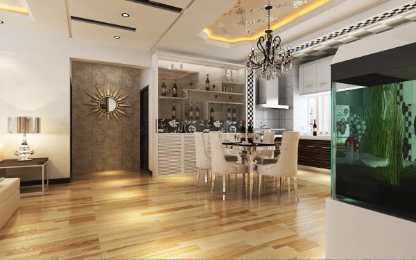 150平米现代简约三居室餐厅装修效果图