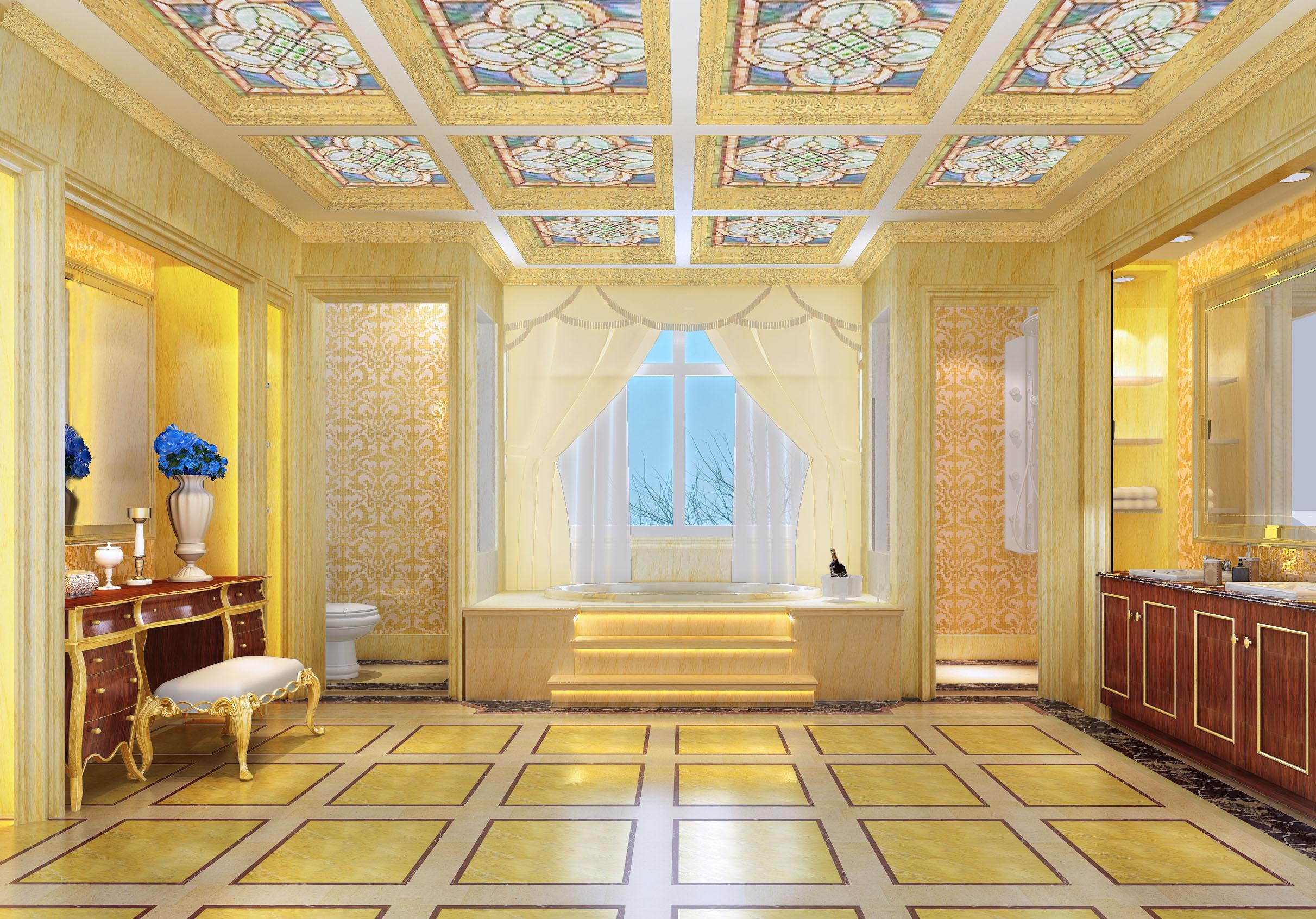 欧式 别墅 蓝色 金色 童话 大门厅 法式 卫生间图片来自尚层装饰大林在格拉斯小镇--浅色的梦的分享