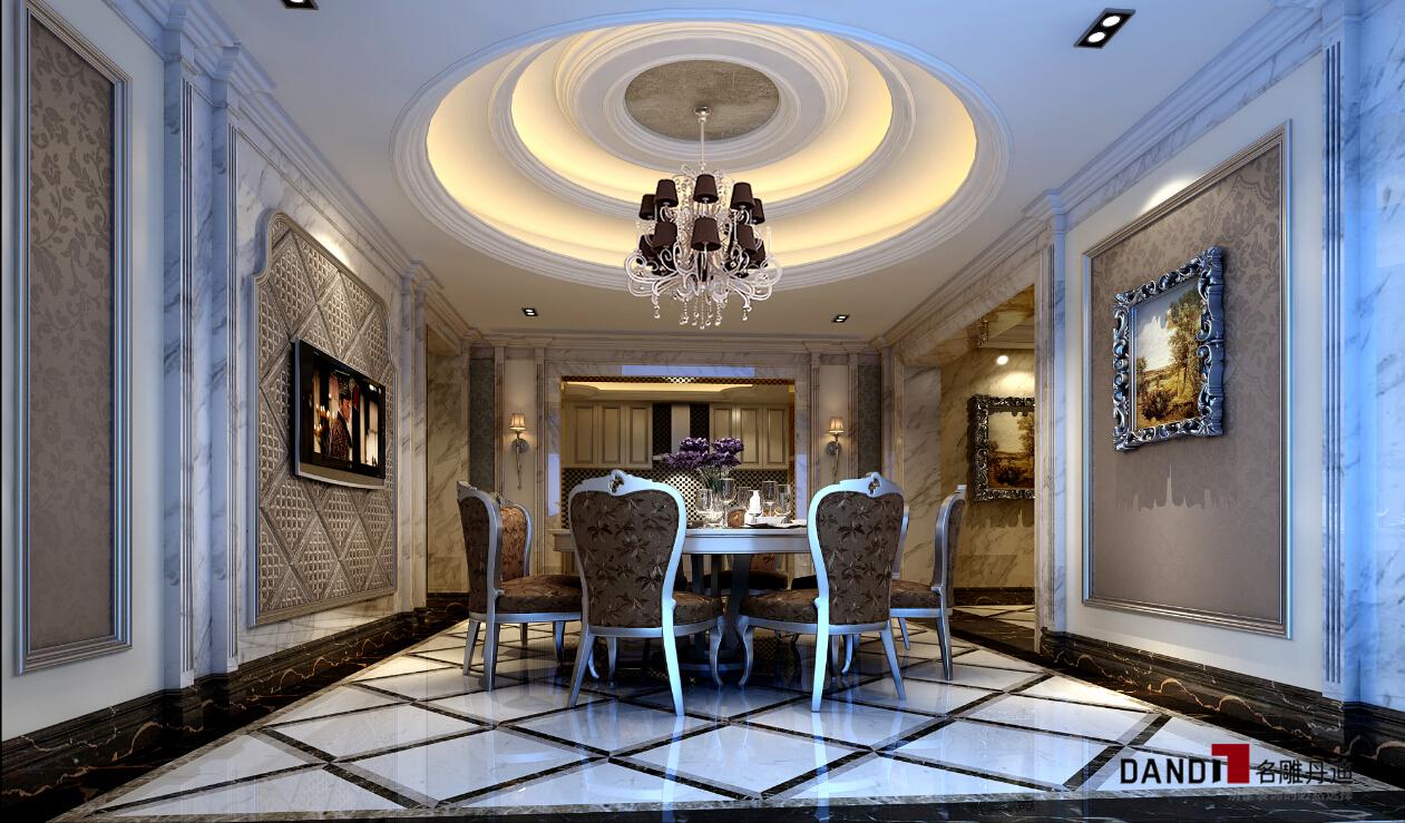 混搭 别墅 别墅装饰 豪宅设计 名雕丹迪 高富帅 白富美 餐厅图片来自名雕丹迪在混搭风格—银光白影600平别墅的分享