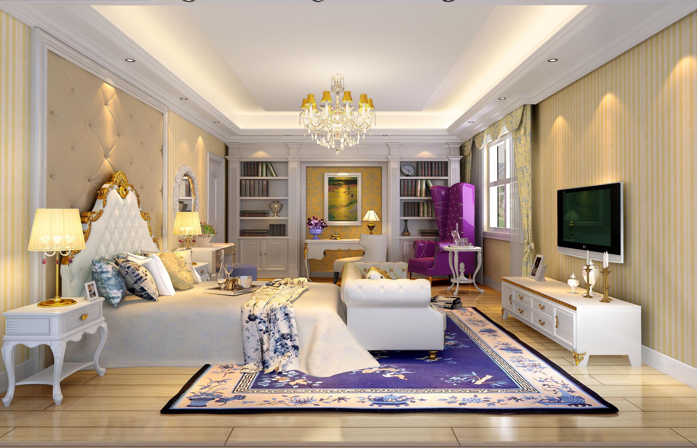 欧式 别墅 蓝色 金色 童话 大门厅 法式 卧室图片来自尚层装饰大林在格拉斯小镇--浅色的梦的分享