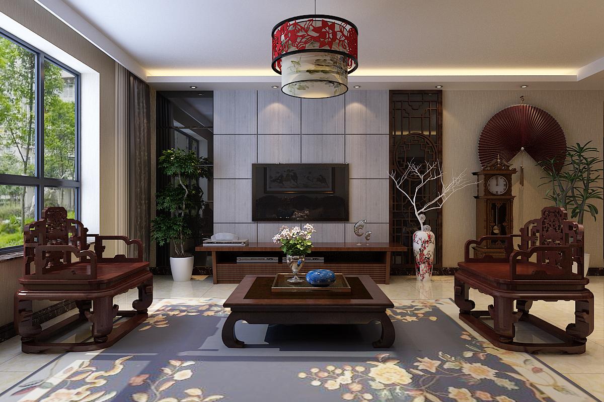 三居 中式效果 客厅图片来自石家庄城市人家装饰在凯悦家园中式效果图案例的分享