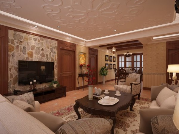 欧式170最新的美式装修风格案例,客厅