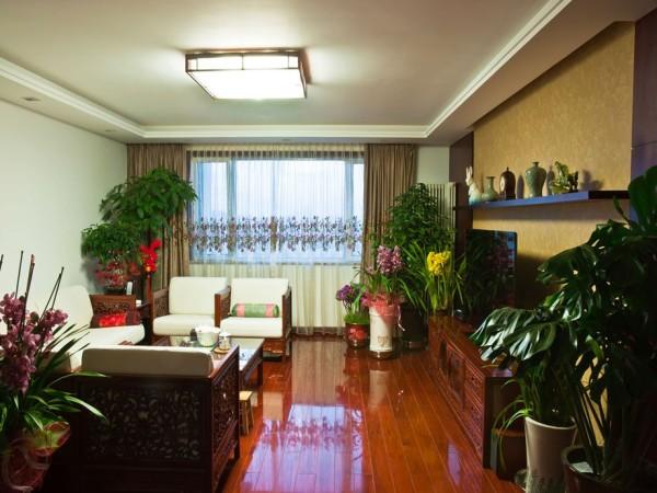 华润二十四城89㎡中式风格客厅实景图