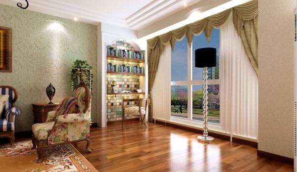 客厅沙发背景做的拱形的书架,隔板用木板分割,体现出田园风格。