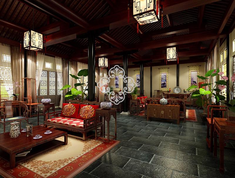 中式风格 别墅装修 尚层装饰 别墅设计 客厅图片来自天津别墅装修公司在大气、奢华中式古典风的分享