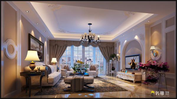 名雕装饰设计—保利东嘉花园四居——美式客厅