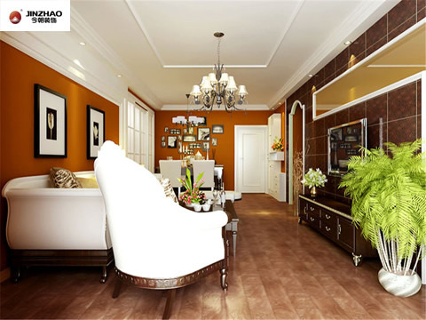配饰特征:欧式风格大多采用白色、淡色为主,可以采用白色或者色调比较跳跃的靠垫配白木家具与客厅的其他色彩形成呼应,使得欧式的情调瞬间凸显。