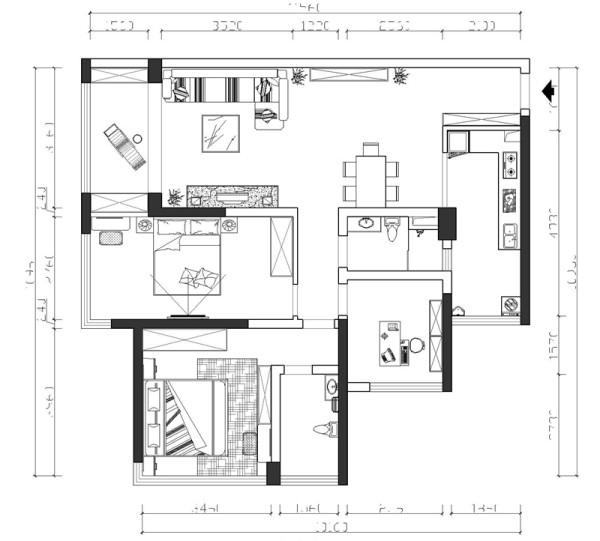 亮点:为了达到客户的三房要求,在保证舒适性的上面,在阳台上做了一些改动,将原来的大阳台分成两个空间,一部分增加到卧室里面,一部分保留在客厅的大阳台,保证了客厅的采光跟通风,实用起来也更加方便合理。