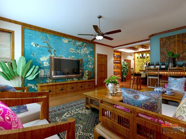 计亮点:原木质的沙发加上蓝色布艺沙发垫,还有个性造型的茶几和特殊纹理的电视背景墙,这都是十分有趣与少见的。既给人以新鲜感,又让人眼睛一亮。