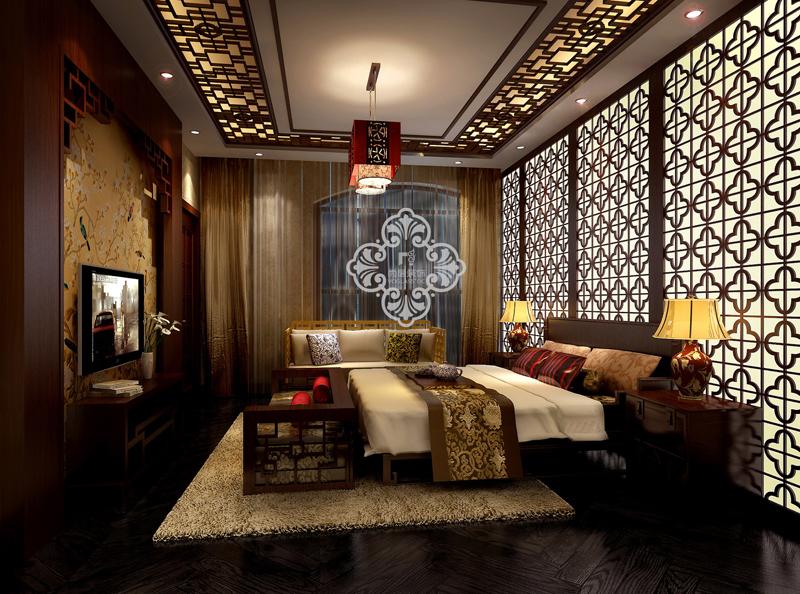 中式风格 别墅装修 尚层装饰 别墅设计 卧室图片来自天津别墅装修公司在大气、奢华中式古典风的分享
