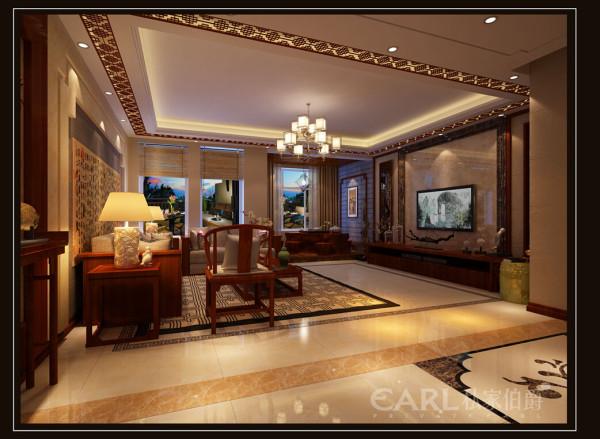 """客厅电视背景墙用两种不同石材上墙,同时也呼应""""回形纹""""的主题与中式花格搭配相得益彰。体现出的中国传统美学精神,搭配营造出一个富贵大气的空间世界。"""