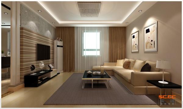 设计理念:房间整体地面用的中性色地板跟墙面乳胶漆的结合,显得空间比较温馨,但是没有划分区域的功能,要从顶面吊顶划分区域,通过吊顶的色和灯带的搭配会既能划分区域又有整体性。