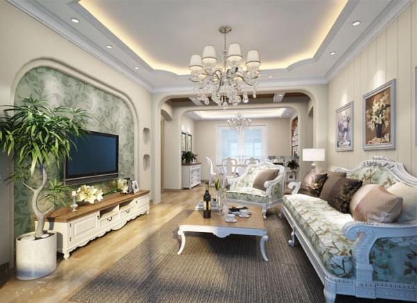 客厅作为待客区域,一般要求大气庄重,通常使用大量的石材和木饰面装饰;本方案,在客厅区域的吊顶,垭口和电视背景墙,运用了圆角造型,使人对庄重的客厅,产生一种亲切和轻松的感觉