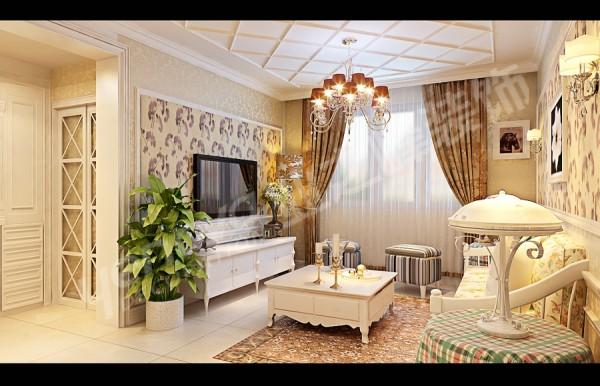 这是一套两室两厅一卫户型,整套方案以英式田园风格为主,墙体全部采用卷叶草的壁纸处理。淡雅大方,凸显出女主人优越高雅的生活态度
