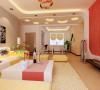全体的橙黄色彩调配的新鲜调和,客厅与餐厅空间巧妙的用外型吊顶做以化分,使全体空间特性美丽、曼妙灵动,电视布景墙用简略的橙红色墙纸将整个客厅的温情空气烘托到极致,将简约展示的酣畅淋漓。