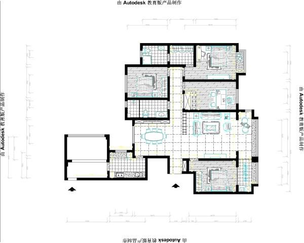 户型南北通透,通过顶面造型和隔断的运用使区域分明。白色沙发,深色地毯,暖色地砖是空间更沉稳,有家的安全感。