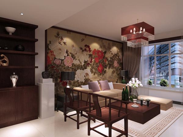 整个沙发墙以一幅巨大的中式牡丹画来表现效果,整体平面中又透露着 百花争艳,鸟语花香的气息。顶部配以最简单的石膏线条,使得线条感更强烈了。